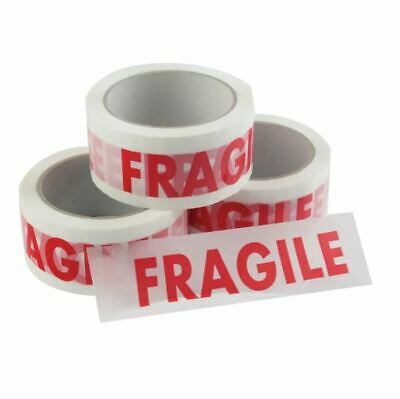 12 Rolls of FRAGILE Printed Packing Parcel Packaging Tape Low Noise 50mm x 66m