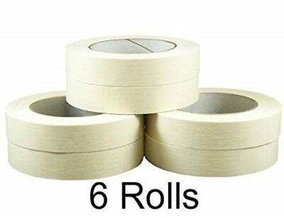 6 x Rolls Paper Masking Tape 25mm x 50m PAINT PAINTING MASK DECORATE WALLS