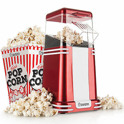 Savisto Retro Hot Air Popcorn Maker Popper Machine with 6 Cinema Pop Corn Boxes