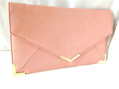 New Baby Pink Blush Faux Leather Evening Day Clutch Bag Prom Wedding Party