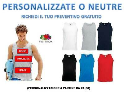 Canotta Uomo Maglietta  Fruit Of The Loom T-Shirt Personalizzabile Canottiera