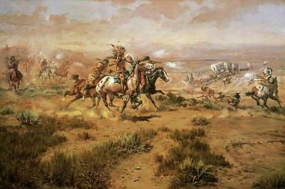 The Attack On The Wagon Train Charles Russell Native American Western 36x24