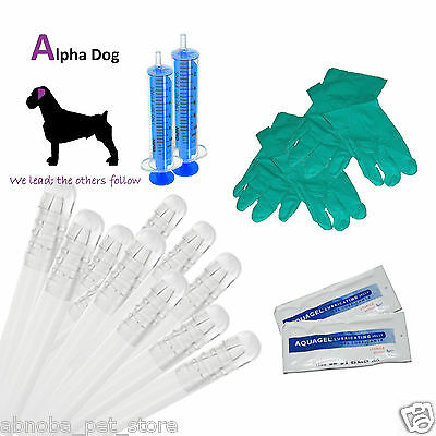 "10 - 8"" AI Tubes Alpha - Dog Premium Kit Canine Artificial Insemination Breeding"