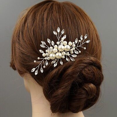 Bridal Hair Comb Clear Crystal Pearl Headpiece Wedding Accessory 00755 Silver
