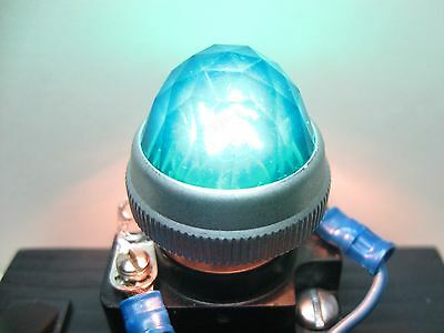 "Vintage Panel Mount Indicator Light Lens Cap 1"" Green Diamond Jeweled Screw-On"