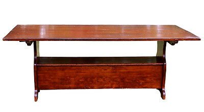 Antique Bench Table, 19th Century American,  Rare Large Size