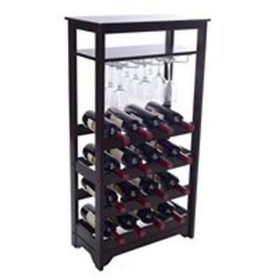 Merry Products WNR0011720800 16-Bottle Wine Rack with Stemware Glass