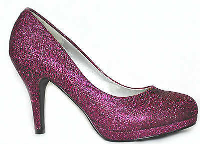 New Purple Glitter Platform Heels Wedding Evening Prom Party Shoes