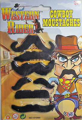 Western Rider 6 x Crazy Cowboy Stick on Moustaches. For Fancy Dress or Stag Do