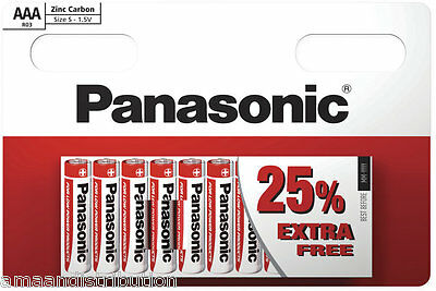 Genuine Panasonic Heavy Duty Aaa Batteries R03 1.5V Pack Of 10 Zinc Carbon