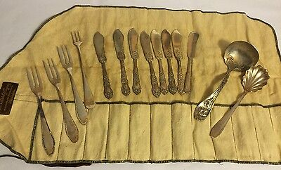 Antique Lot of Assorted Silverware Silver Plate 14 Forks, Butter Knives, Ladles