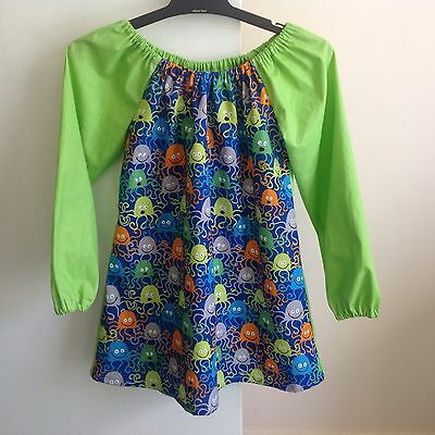 Handmade Cotton Art Smock ~ Size 5-7 ~ Octopus Print