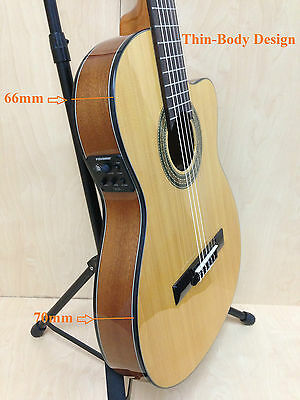Miguel Rosales Thin Body Solid Spruce Top Classical Guitar EQ, Cutaway +Free bag