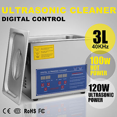 3L Strong Digital Stainless Cleaner Ultra Sonic Bath Cleaning Tank Timer Heater