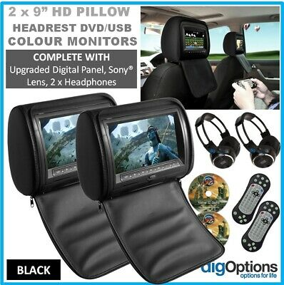 """-2 x 9"""" Black In Car Headrest DVD Players with HDMI Input with 2 IR Headphones"""
