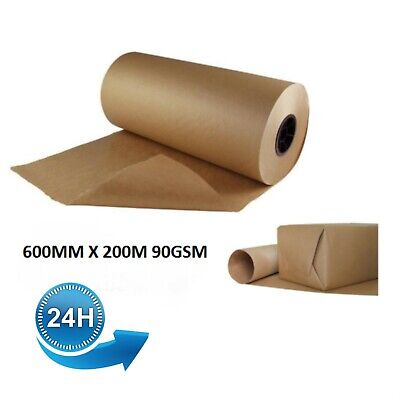 600mm x 200M Heavy Duty Kraft Brown Wrapping Paper Roll Packing Packaging 90GSM