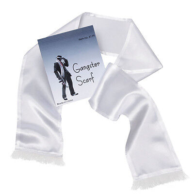 Gangster Gatsby Scarf# + Tassels White Fancy Dress 1920s 1930s Costume Accessory