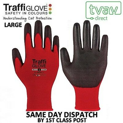 RED TraffiGlove Gloves [Size Large - 9] CLASSIC CUT 1 TG1010 (Packs of 1, 5, 10)