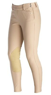 Women's Ariat Tan Heritage Low Rise Side Zip Knee Patch Breeches