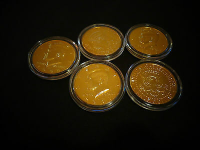 *lot Of 5 * 24 Kt Gold Plated  Kennedy Half Dollar *coin Set- Airtight Capsule