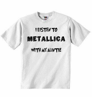 I Listen to Metallica with My Auntie - Baby T-shirt Tees Clothing Boys, Girls