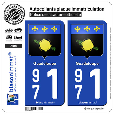 2 Sticker plaque d'immatriculation auto | 971 Guadeloupe - Armoiries