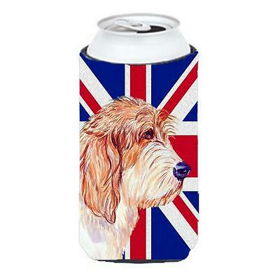 Petit Basset Griffon Vendeen Pbgv With English Union Jack British Flag Tall B...
