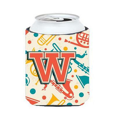 Letter W Retro Teal Orange Musical Instruments Initial Can & Bottle Hugger