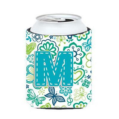 Letter M Flowers And Butterflies Teal Blue Can & Bottle Hugger