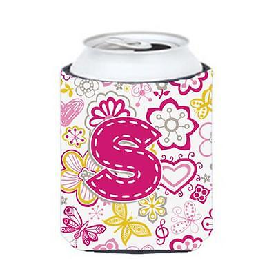 Carolines Treasures Letter S Flowers And Butterflies Pink Can & Bottle Hugger