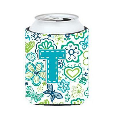 Letter T Flowers And Butterflies Teal Blue Can & Bottle Hugger