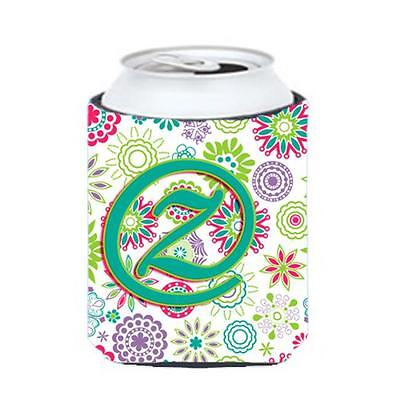 Carolines Treasures Letter Z Flowers Pink Teal Green Initial Can & Bottle Hugger