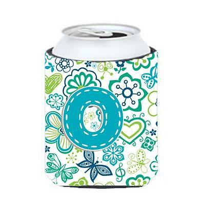 Letter O Flowers And Butterflies Teal Blue Can & Bottle Hugger