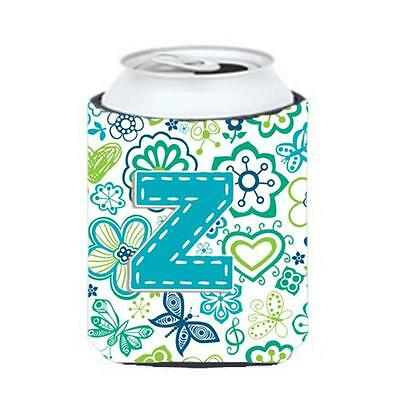 Letter Z Flowers And Butterflies Teal Blue Can & Bottle Hugger