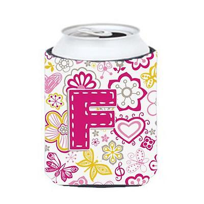 Carolines Treasures Letter F Flowers And Butterflies Pink Can & Bottle Hugger