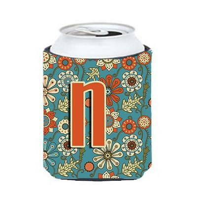 Carolines Treasures CJ2012-NCC Letter N Flowers Retro Blue Can & Bottle Hugger