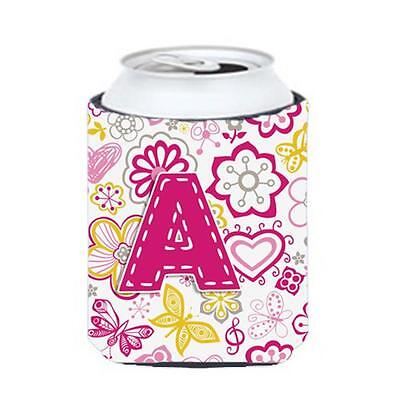 Carolines Treasures Letter A Flowers And Butterflies Pink Can & Bottle Hugger