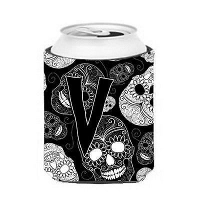 Carolines Treasures Letter V Day Of The Dead Skulls Black Can & Bottle Hugger