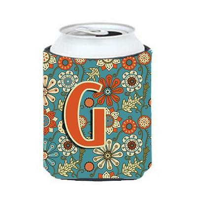 Carolines Treasures CJ2012-GCC Letter G Flowers Retro Blue Can & Bottle Hugger