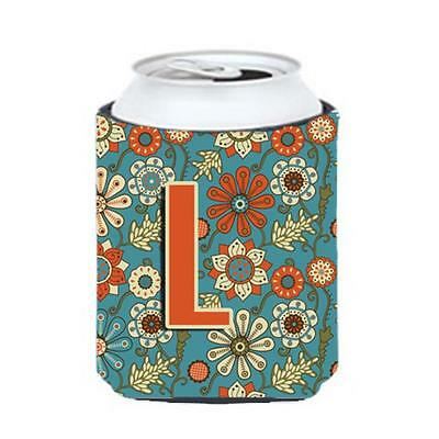 Carolines Treasures CJ2012-LCC Letter L Flowers Retro Blue Can & Bottle Hugger