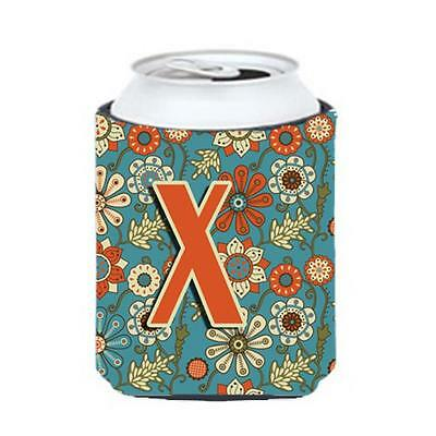 Carolines Treasures CJ2012-XCC Letter X Flowers Retro Blue Can & Bottle Hugger