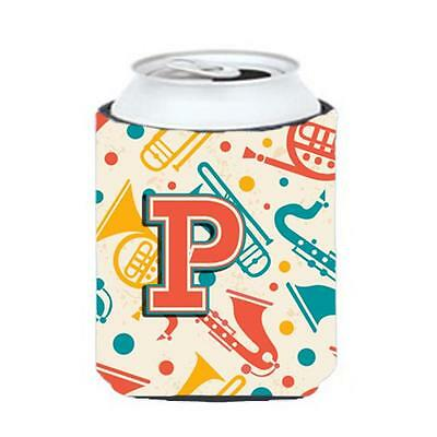 Letter P Retro Teal Orange Musical Instruments Initial Can & Bottle Hugger