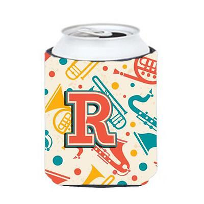 Letter R Retro Teal Orange Musical Instruments Initial Can & Bottle Hugger