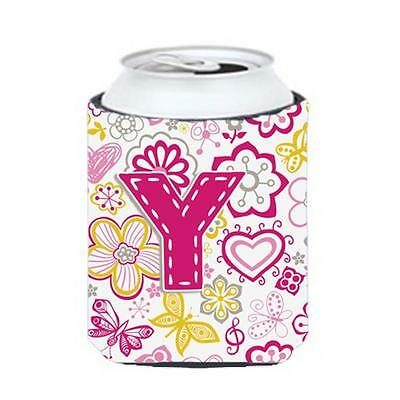 Carolines Treasures Letter Y Flowers And Butterflies Pink Can & Bottle Hugger