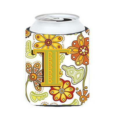 Carolines Treasures Letter T Floral Mustard And Green Can & Bottle Hugger