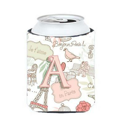 Carolines Treasures CJ2002-ACC Letter A Love In Paris Pink Can & Bottle Hugger