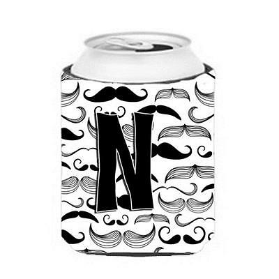 Carolines Treasures CJ2009-NCC Letter N Moustache Initial Can & Bottle Hugger