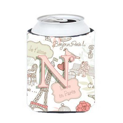 Carolines Treasures CJ2002-NCC Letter N Love In Paris Pink Can & Bottle Hugger