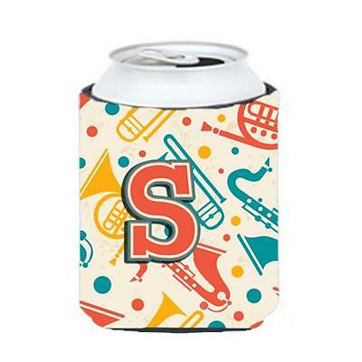 Letter S Retro Teal Orange Musical Instruments Initial Can & Bottle Hugger