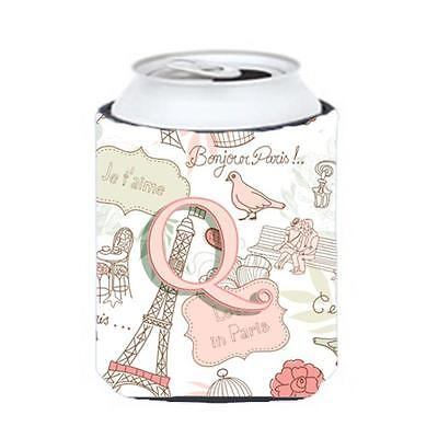 Carolines Treasures CJ2002-QCC Letter Q Love In Paris Pink Can & Bottle Hugger